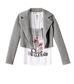 Beautees Girls' 7-16 Long Sleeve Quilted Moto Jacket With Paris Tank And Necklace