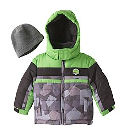 London Fog® Baby Boys' Colorblock Camo Puffer Jacket with Hat