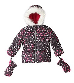 London Fog® Baby Girls' Heart Puffer Jacket with Mittens
