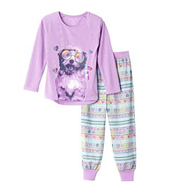 Komar Kids® Girls' 4-16 2-Piece Hipster Dog Pajama Set
