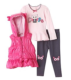 Nannette® Baby Girls' 3-Piece Vest And Owl Leggings Set