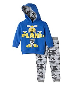 Nannette® Baby Boys 2-Piece Airplane Hoodie And Joggers Set