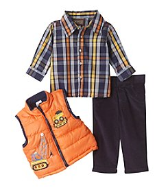 Nannette® Baby Boys 3-Piece Trucks Vest And Pants Set