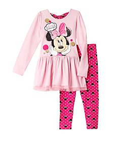 Disney® Girls' 4-6X 2-Piece Dream Minnie Mouse® In Polka Dots Top And Leggings Set