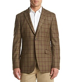 Tallia Orange Men's Plaid Sport Coat