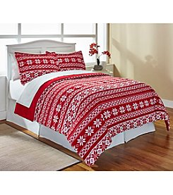LivingQuarters Fairisle Nordic Micro Cozy Comforter