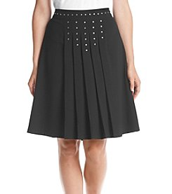Relativity® Pleated Skirt With Studs