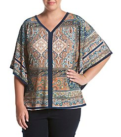 Oneworld® Plus Size Framed Paisley Print Top