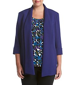 Kasper® Plus Size Solid Stretch Crepe Topper Jacket