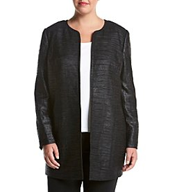 Kasper® Plus Size Wrinkled Jacquard Topper Jacket