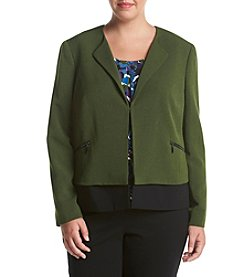 Kasper® Plus Size Cross Dye Crepe Jacket