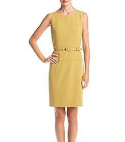 Nine West® Solid Seamed Dress with Belt