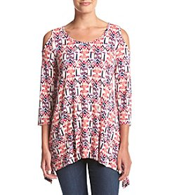 Fever® Geometric Printed Cold Shoulder Top