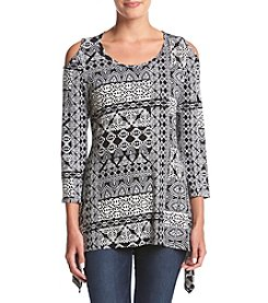 Fever™ Geometric Printed Cold Shoulder Top
