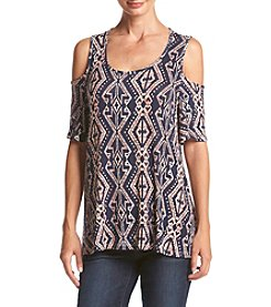 Bobeau® Geo Printed Cold Shoulder Top
