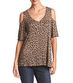 Bobeau® Cold Shoulder Cheetah Top