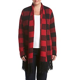 Ruff Hewn Plus Size Buffalo Plaid Flyaway Cardigan