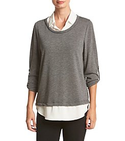 AGB® Layered Look Roll Sleeve Sweater And Faux Top