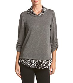 AGB® Roll Sleeve Sweater And Animal Print Faux Top