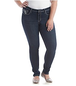 Earl Jean® Plus Size Stitch Swirl Patch Pocket Skinny Denim Jeans