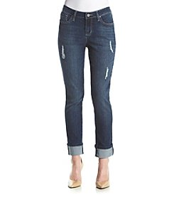 Earl Jean® Petites' Deconstructed Relaxed Denim Jeans