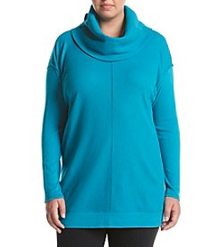 Calvin Klein Performance Plus Size Long Sleeve Cowl Neck Thermal Knit Top