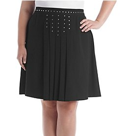 Relativity® Plus Size Pleat Studded Skirt