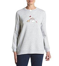 Breckenridge® Crew Neck Embellished Fleece