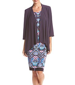 R&M Richards® Solid Jacket Over Printed Dress