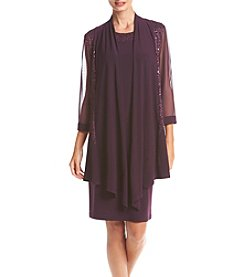 R&M Richards® Sheer Lace Panel Jacket Dress