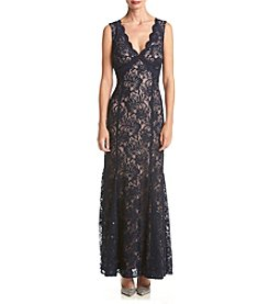 NW Collections Long Lace Scalloped Detail Dress