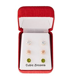 Relativity® Goldtone Three Pairs Of Cubic Zirconia Pierced Earrings