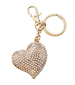 Relativity® Goldtone Crystal Heart Key Ring