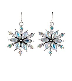 Studio Works® Silvertone Crystal Snowflake Fish Hook Earrings