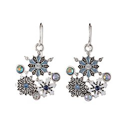 Studio Works® Multi Colored Silvertone Cluster Snowflake Earrings