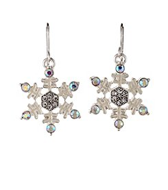 Studio Works® Silvertone Drop Fish Hook Snowflake Earrings
