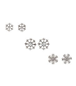 Studio Works® Three Pairs Of Silvertone Crystal Snowflake Earrings