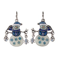 Studio Works® Silvertone Snowman Drop Earrings