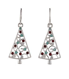 Studio Works® Silvertone Christmas Tree Drop Earrings
