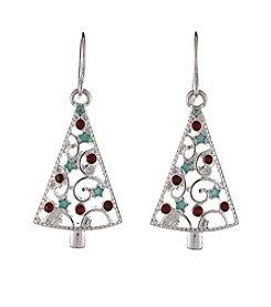 Studio Works® Silvertone Christmas Tree Drop Earrings