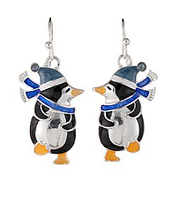 Studio Works® Silvertone Multi Colored Penguin Fish Hook Earrings