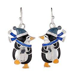 Studio Works® Silvertone Multi Colored Penguin Fish Hook Earrings