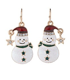 Studio Works® Goldtone Multicolored Snowman Drop Earrings