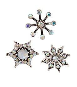 Studio Works® Silvertone Trio Snowflake Tac Pins