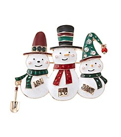 Studio Works® Goldtone Trio Snowmen Multicolored Pin