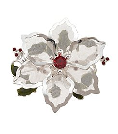 Studio Works® Silvertone Mesh Poinsettia Pin