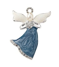 Studio Works® Silvertone Faux Pearl Glitter Angel Pin