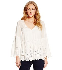 Jessica Simpson Rayna Solid Tie Front Peasant Top