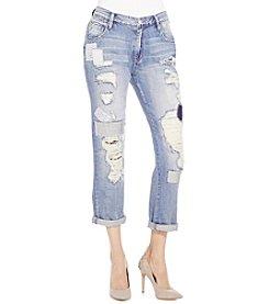 Jessica Simpson Monroe Patched And Destruction Boyfriend Jeans