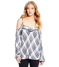 Jessica Simpson Plaid Cold Shoulder Peasant Top